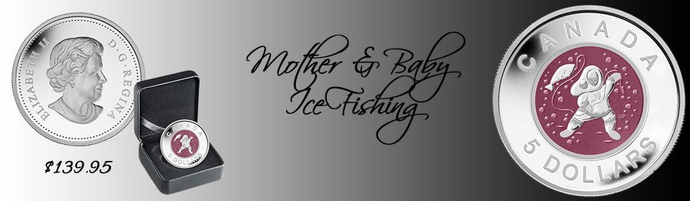 Mother & Baby Ice Fishing
