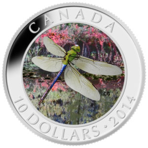 128863-2014 $10 Fine Silver Coin - Dragonfly-Green Darner- Front