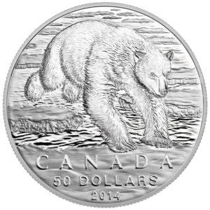 129569-2014 $50 Fine Silver Coin - Iconic Polar Bear - Front