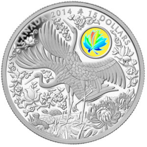 130304-2014 $15 Fine Silver Coin - Maple of Longevity - Front