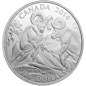 130547-2014 $100 Fine Silver Coin - Bighorn Sheep - Front